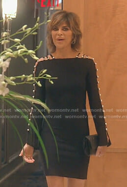 Lisa's black ladder sleeve dress on The Real Housewives of Beverly Hills