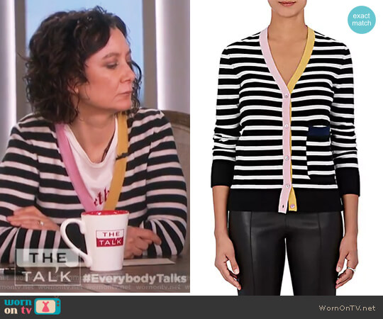 Striped Cashmere Cardigan by Lisa Perry worn by Sara Gilbert on The Talk