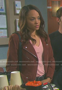 Lani's brown suede moto jacket on Days of our Lives