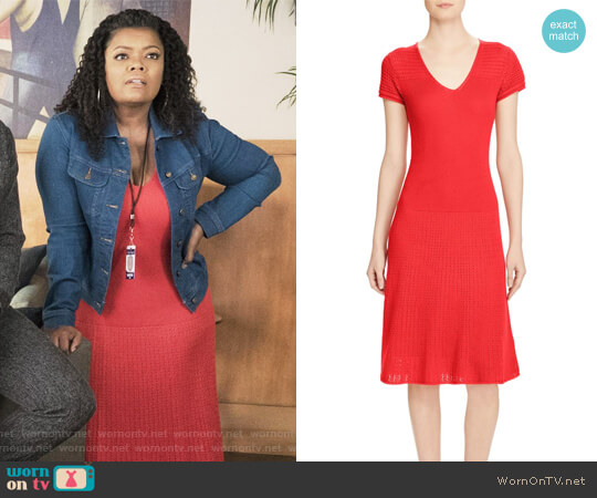 Petite Fit & Flare Pointelle Dress by Ralph Lauren worn by Yvette Nicole Brown on The Mayor