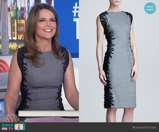 Flutter-Lace Sheath Dress by Lela Rose worn by Savannah Guthrie  on Today