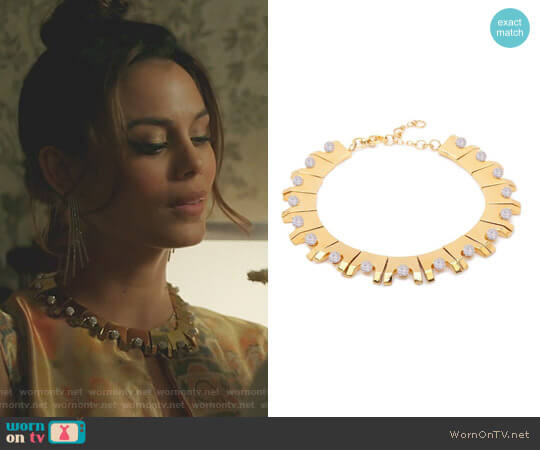 Multicolor Beaded Hinge Necklace by Lele sadoughi worn by Nathalie Kelley on Dynasty