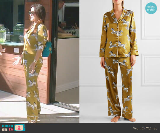 Lila Mona printed silk-satin pajama set by Olivia Von Halle worn by Kyle Richards  on The Real Housewives of Beverly Hills