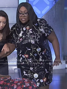 Loni's black floral embroidered dress on The Real
