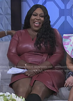Loni's pink leather wrap dress on The Real