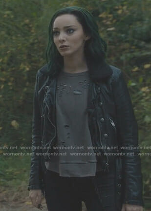 Lorna's black shearling collar moto jacket on The Gifted