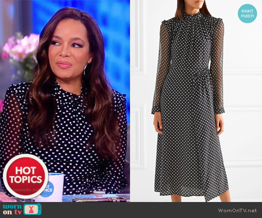 Colette ruffled printed silk midi dress by Markus Lupfer worn by Sunny Hostin (Sunny Hostin) on The View