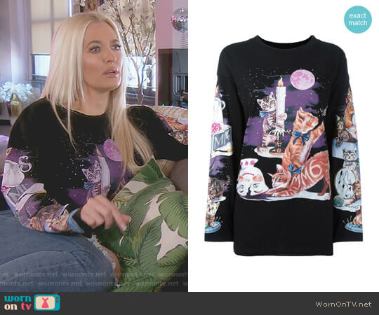 Cat Print Sweatshirt by MM6 Maison Margiela worn by Erika Girardi on The Real Housewives of Beverly Hills