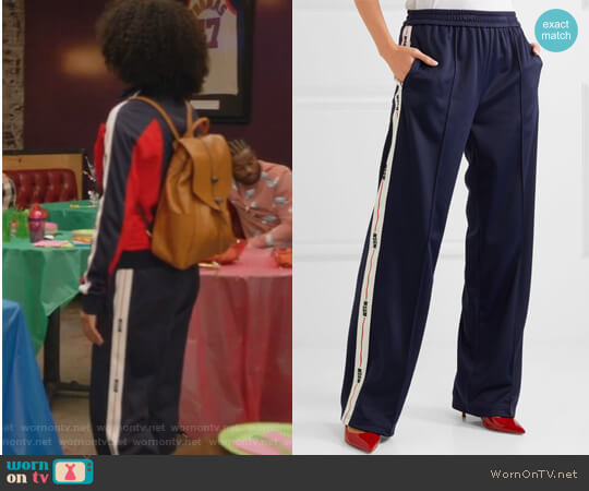 Jersey track pants by MSGM worn by Yara Shahidi on Grown-ish