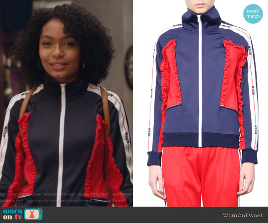 Ruffled Track Jacket by MSGM worn by Zoey Johnson (Yara Shahidi) on Grown-ish