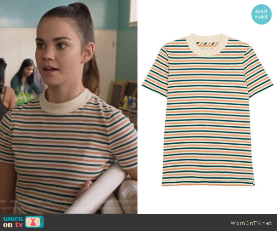 Striped cotton T-shirt by Madewell worn by Callie Jacob (Maia Mitchell) on The Fosters