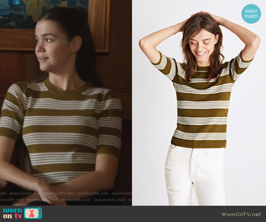Ribbed Sweater Top in Bennett Stripe by Madewell worn by Callie Jacob (Maia Mitchell) on The Fosters