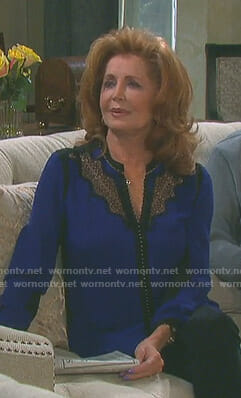 Maggie's blue and black lace inset blouse on Days of our Lives