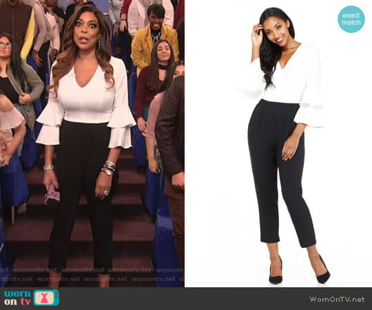 Karen Petite Jumpsuit by Maggy London worn by Wendy Williams on The Wendy Williams Show