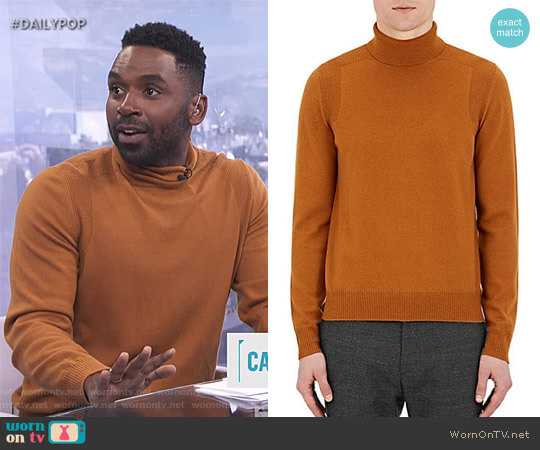 Merino Wool Turtleneck Sweater by Maison Margiela  worn by Justin Sylvester on E! News