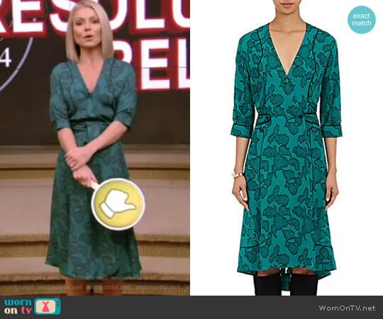 Georgette Wrap Dress by Maison Mayle worn by Kelly Ripa on Live with Kelly & Ryan
