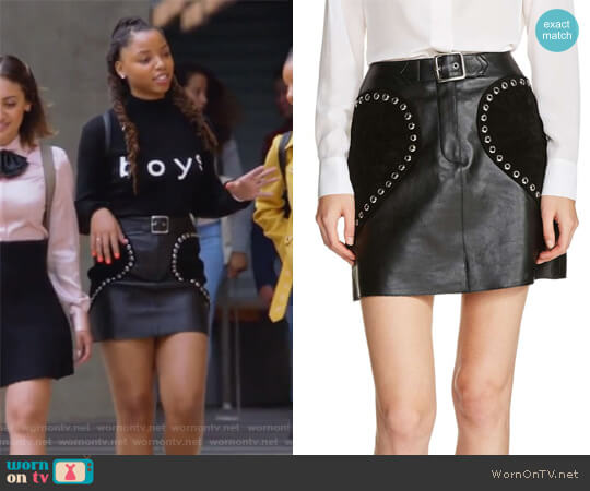 Heart Patch A-Line Leather Skirt by Maje worn by Jazlyn Forster (Chloe Bailey) on Grown-ish