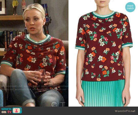 Maje Liatis Floral Print Top worn by Kaley Cuoco on The Big Bang Theory