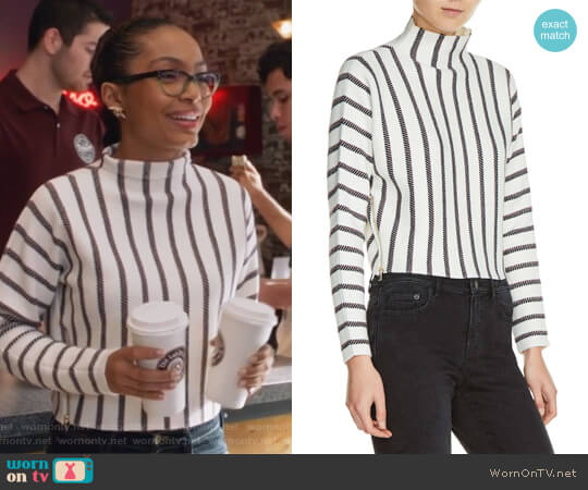 Mesh Stripe Crop Sweater by Maje worn by Zoey Johnson (Yara Shahidi) on Grown-ish
