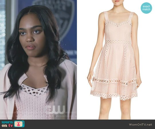 Ravi Grommet-Detail Lace Dress by Maje worn by China Anne McClain on Black Lightning