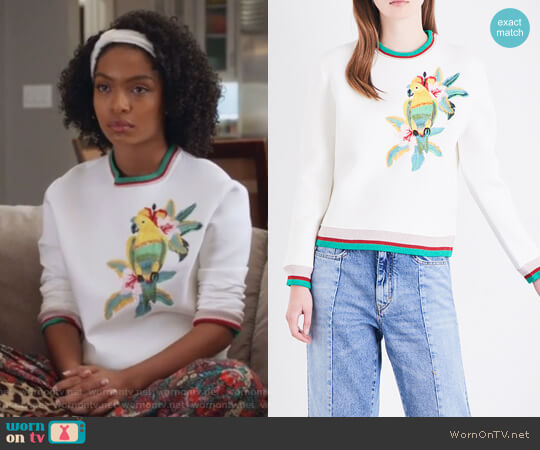 Tibio Neoprene Sweatshirt by Maje worn by Yara Shahidi on Grown-ish