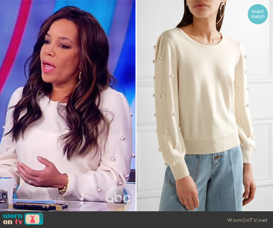 Faux pearl-embellished wool and cashmere-blend sweater by Marc Jacobs worn by Sunny Hostin on The View