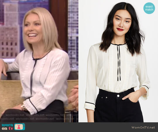 Pintuck Blouse by Marc Jacobs worn by Kelly Ripa on Live with Kelly & Ryan