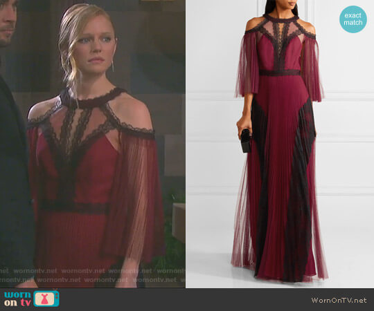 Cold-shoulder Pleated Tulle Gown by Marchesa Notte worn by Abigail Deveraux (Kate Mansi) on Days of our Lives