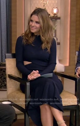 Maria Menounos's navy ribbed cutout dress on Live with Kelly and Ryan