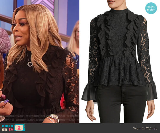 Ruffled Peplum Lace Top by Marled by Reunited worn by Wendy Williams on The Wendy Williams Show