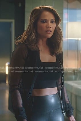 Maze's black mesh jacket on Lucifer