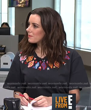 Melanie's black embroidered t-shirt on Live from E!