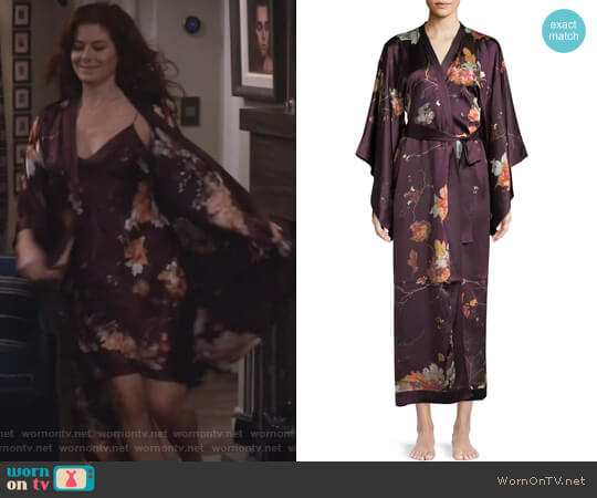 Floral-Print Silk Kimono Caftan by Meng worn by Debra Messing on Will & Grace