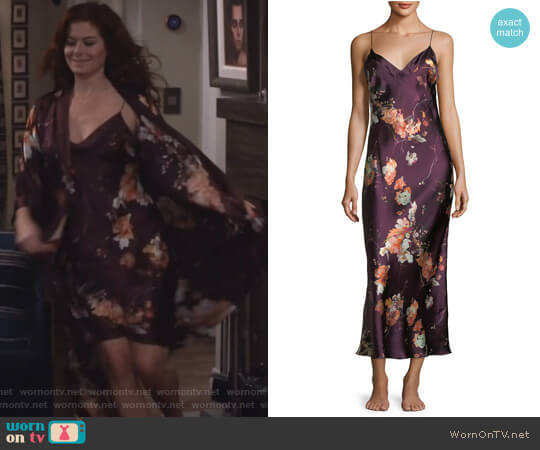 Floral-Print Sleeveless Silk Nightgown by Meng worn by Debra Messing on Will & Grace