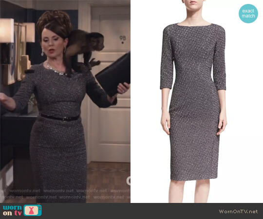 Metallic Dogtooth Boat-Neck Sheath Dress by Michael Kors worn by Karen Walker (Megan Mullally) on Will & Grace