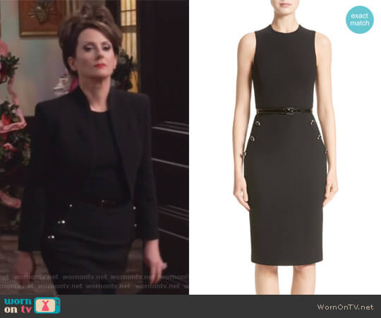 Belted Stretch Bouclé Crepe Sheath Dress by Michael Kors worn by Karen Walker (Megan Mullally) on Will & Grace