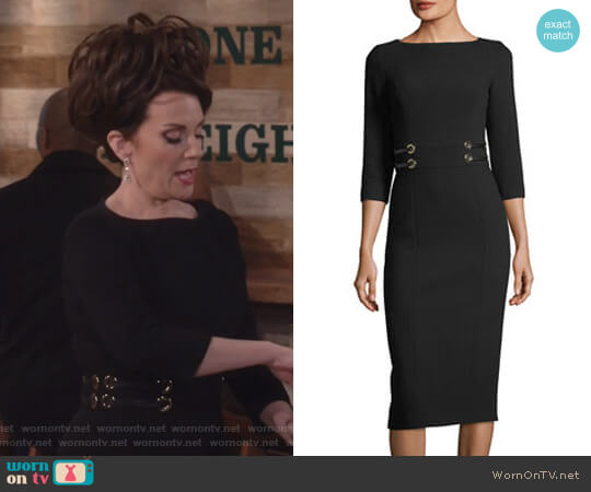 Leather-Trim Boucle Crepe Sheath Dress by Michael Kors worn by Megan Mullally on Will & Grace