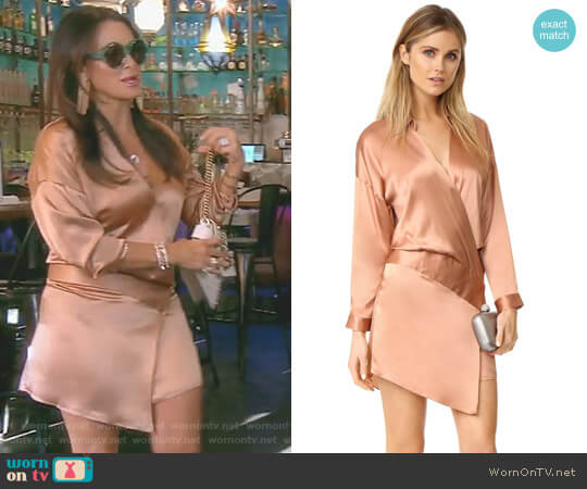 Oversized Wrap Mini Dress by Michelle Mason worn by Kyle Richards (Kyle Richards) on The Real Housewives of Beverly Hills