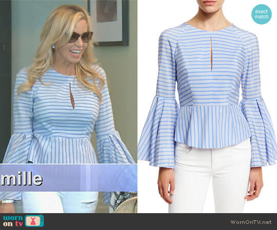 'Luna' Striped Blouse by Milly worn by Camille Grammer  on The Real Housewives of Beverly Hills