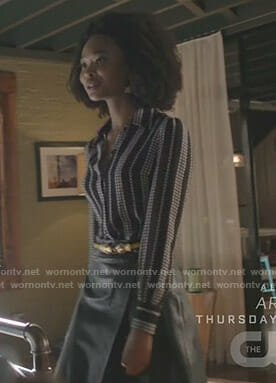 Monica's black star print blouse on Dynasty