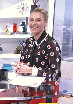 Morgan's black floral sheer blouse on E! News Daily Pop
