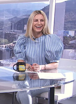 Morgan's blue striped balloon sleeve top on E! News Daily Pop