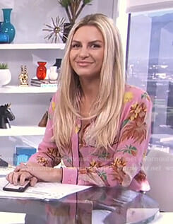 Morgan's pink floral blouse on E! News Daily Pop