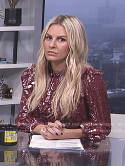 Morgan's red metallic ruffled top on E! News Daily Pop