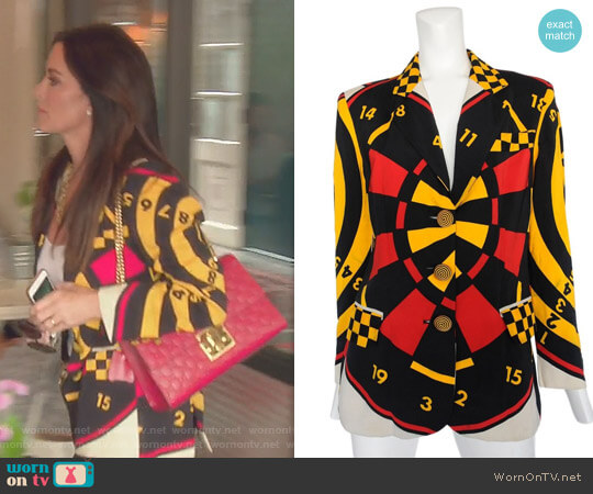 Vintage Dartboard Print Jacket by Moschino worn by Kyle Richards on The Real Housewives of Beverly Hills