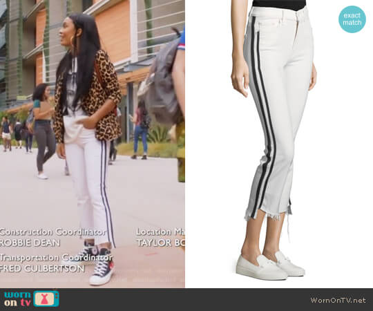 Insider Crop Step-Fray Straight-Legs Jeans by Mother worn by Zoey Johnson (Yara Shahidi) on Grown-ish
