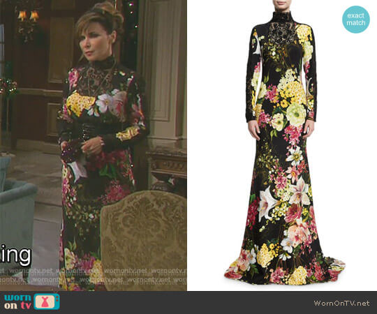 Floral-Print Long-Sleeve High-Neck Gown by Naeem Khan worn by Lauren Koslow on Days of our Lives