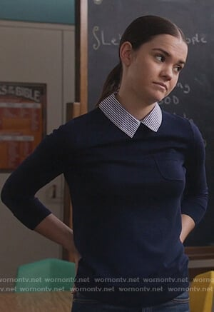 Callie's navy sweater with striped collar on The Fosters