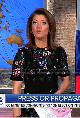 Norah's black floral short sleeve dress on CBS This Morning