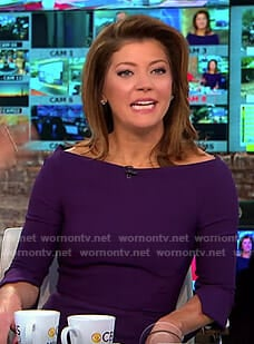Norah's purple split sleeve dress on CBS This Morning